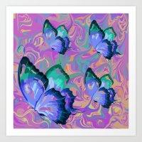 butterflies Art Prints featuring butterflies by Shea33