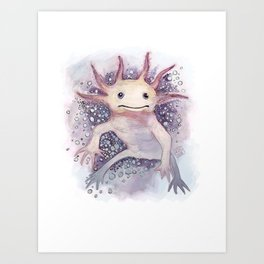 Floating Axolotl Art Print