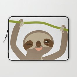 funny and cute smiling Three-toed sloth on green branch 2 Laptop Sleeve