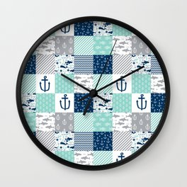 Nautical anchors sharks whales quilt cheater quilt nursery pattern art Wall Clock