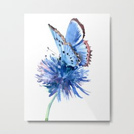 Blue Butterfly and Blue Flower Metal Print