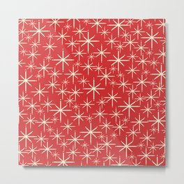 Atomic Age Christmas Stars - Midcentury Modern Pattern in Cream and Retro Xmas Red Metal Print