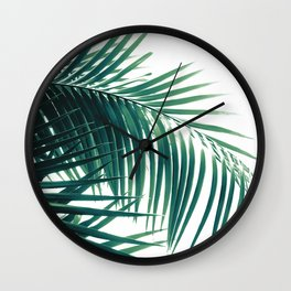 Palm Leaves Green Vibes #6 #tropical #decor #art #society6 Wall Clock