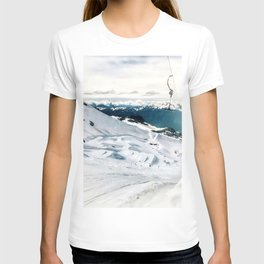 Snowy life on slope under T-bar lifts T-shirt