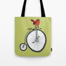 bird on a bicycle. Tote Bag