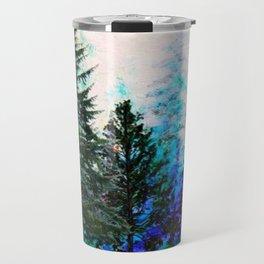 TEAL COLOR  MOUNTAIN  PINE FOREST LANDSCAPE Travel Mug