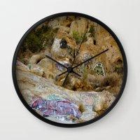 grafitti Wall Clocks featuring Rock Grafitti by Sydney Major