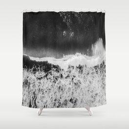Surfer girls from above in Ericeira Portugal | Ocean wanderlust photography black and white print Shower Curtain