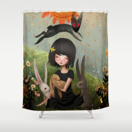 My Heart has Joined the Thousand, for my friend stopped running today. Shower Curtain