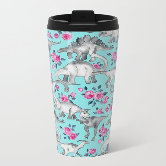 Dinosaurs and Roses - turquoise blue Metal Travel Mug