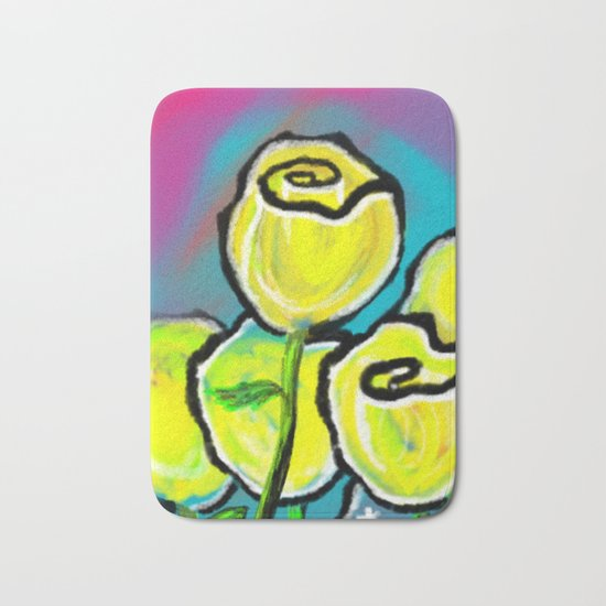 Colorful Yellow Rose Flowers with Purple Blue and Green Bath Mat