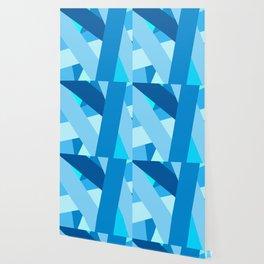 Retro Blue Mid-Century Minimalist Geometric Line Abstract Art Wallpaper