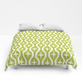 Mid century Modern Bulbous Star Pattern Chartreuse Comforters