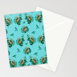 Tropical Leaf Clouded Leopard Pattern Turquoise BG Stationery Cards