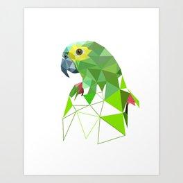 Green parrot Geometric bird artwork Art Print