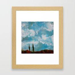 Cypress Trees encaustic wax painting by Seasons Kaz Sparks Framed Art Print