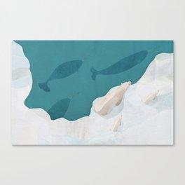 Polar Bears & Narwhals Canvas Print