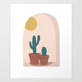 Cactus on Window Sill Art Print