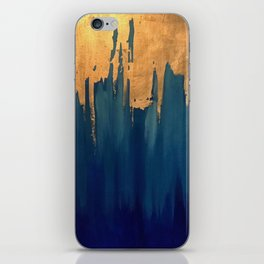 Gold Leaf & Blue Abstract iPhone Skin