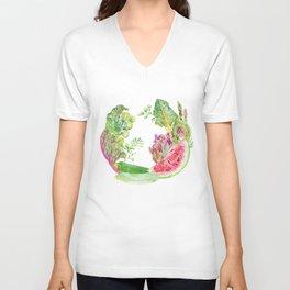 Green Fruit & Vegetable Wreath Unisex V-Neck