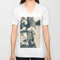 boy V-neck T-shirts featuring Boy by Dora Birgis