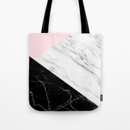 pink black and white geometric marble Tote Bag