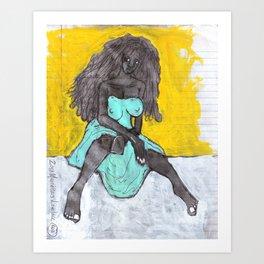 2013 Anti Oppressor Girl (black on black)  Art Print