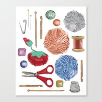 sewing Canvas Prints featuring Sewing by Jennifer Epstein