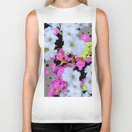 Modern White Petunias Pink Flowers Black & Grey Biker Tank