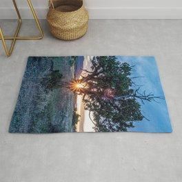 Sun Tree Hammock // Grainy Night Sunset Rays Hiking Landscape Photograph Wilderness Beauty Rug