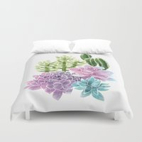 succulents Duvet Covers featuring Succulents by Megan Alcock
