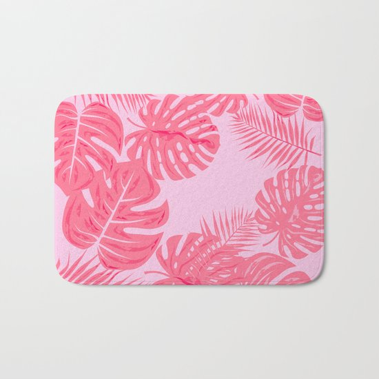 Tropical flamingo pink leaves Bath Mat