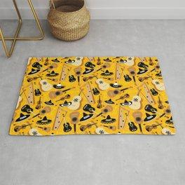 Mariachi Band Pattern on Yellow Rug