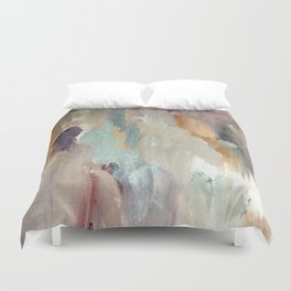 Gentle Beauty [4] - an elegant acrylic piece in deep purple, red, gold, and white Duvet Cover