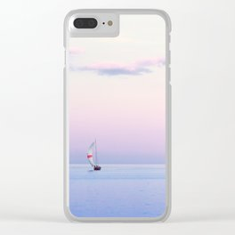 Sailboat Under a Pink Pastel Sky Clear iPhone Case