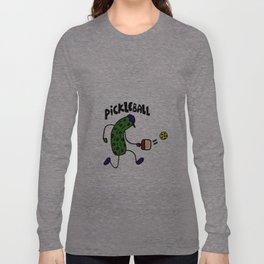 Funny Artistic Pickle Playing Pickleball Art Long Sleeve T-shirt