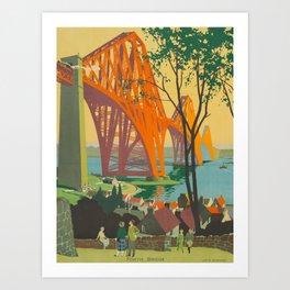 Mid Century Colorful Travel Posters Forth Bridge British Railways Art Print