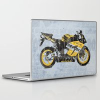 honda Laptop & iPad Skins featuring Honda CBR1000 & Old Newspapers by Larsson Stevensem