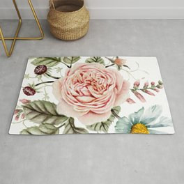 Rose and Foxglove Watercolor Florals Rug