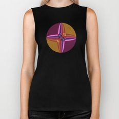 Purplish-Red and Gold Colorblock Abstract Biker Tank