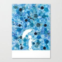 Rain girl, abstract blue drops, watercolor Canvas Print