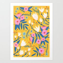 Magnolias and Camellias! Art Print