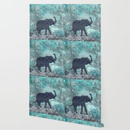 Majestic Series: Turquoise and silver Wallpaper