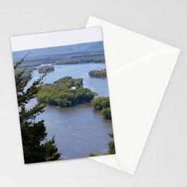 Upper Mississippi River, looking downriver from Buena Vista Park, Alma, WI Stationery Cards