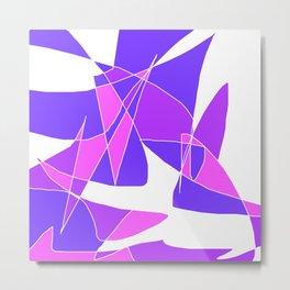 Windy Peaks - Abstract Purples on White Metal Print