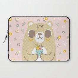 Cute Bear Holding a Plant Laptop Sleeve