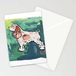 Cavalier King Charles Spaniel Dog Painting on Victorian Green Stationery Cards