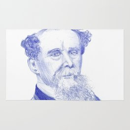Charles Dickens Portrait In Blue Bic Ink Rug