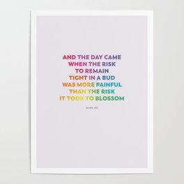 LGBTQ Encouragement Print / Poster (Anais Nin Quote) Poster
