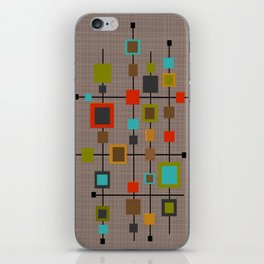 Mid-Century Modern Squares Pattern iPhone Skin